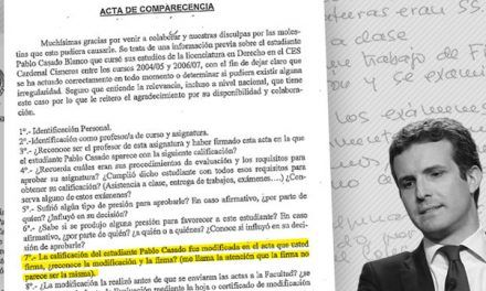 La inspección de la Complutense encontró un cambio de notas en el expediente de Pablo Casado con una firma dudosa